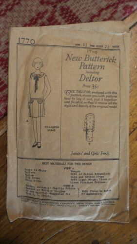 1921 Antique Sewing Pattern BUTTERICK #1770 Junior & Girl