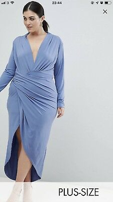 Blue Size 26 John Zack Plus Wrap Dress