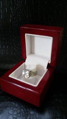 Fancy Genuine Wood Engagement Ring Box Bridal Set Presentation Display Gift Box