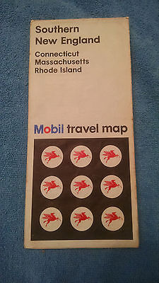 OLD Mobil Road Map Southern New England CT MA RI 1968