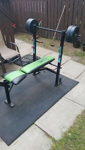 EXERCISE BENCH & WEIGHTS