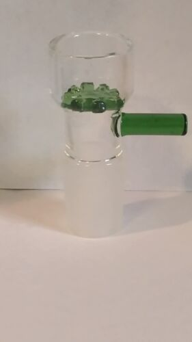 14MM GLASS Green BOWL WITH HANDLE/SCREEN BUY2 GET 4 / BUY 3 GET 6/ BUY 5 GET 11
