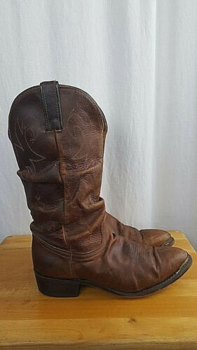 DURANGO, Mens, Distressed, Brown, Leather, Slouchy, Cowboy, Boots, US, SIZE, 9.5,