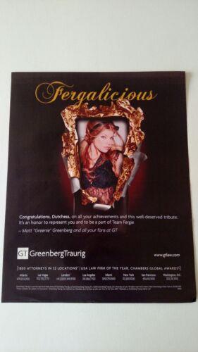 FERGIE FERGALICIOUS WELL DESERVED TRIBUTE. RARE ORIGINAL PRINT PROMO POSTER AD