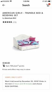 American Girl trundle bed with bedding