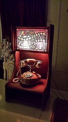 Vintage Telephone Sign Booth Lighted Vinyl Stained Tiffany Style Pine wood