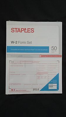 Staples 2015 Irs Tax W 2 6 Part Form Set   Bonus W 2 Envelope