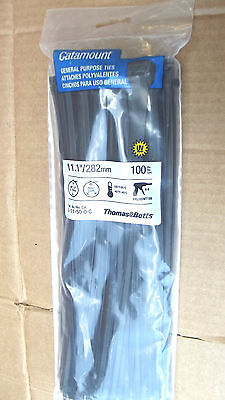 "100CATAMOUNT/THOMAS&BETTS BLACK CABLE TIES,14""NET,50LBS TENSILE,MADE IN USA.9.1."