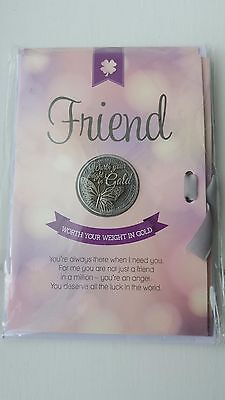 Lucky Coin Greeting Gift Card with envelope and message - Friend (best friend)