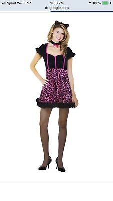 Women's Sassy Kitty Cat Halloween Costume Size 8-10 NEW Pink & Black Cute & Sexy