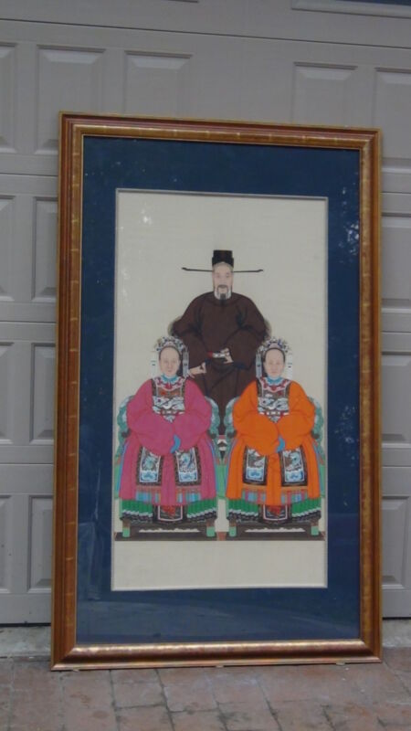 ANTIQUE EARLY 20C CHINESE VERY LARGE GOUACHE PAINTING PORTRAIT CHINESE EMPEROR