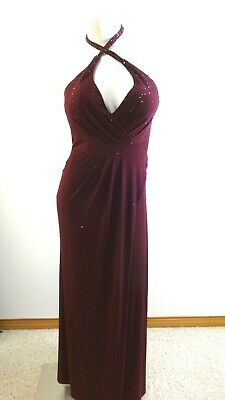 NWD LA FEMME WOMEN'S BURGUNDY BEADED HALTER FORMAL DRESS SIZE 10
