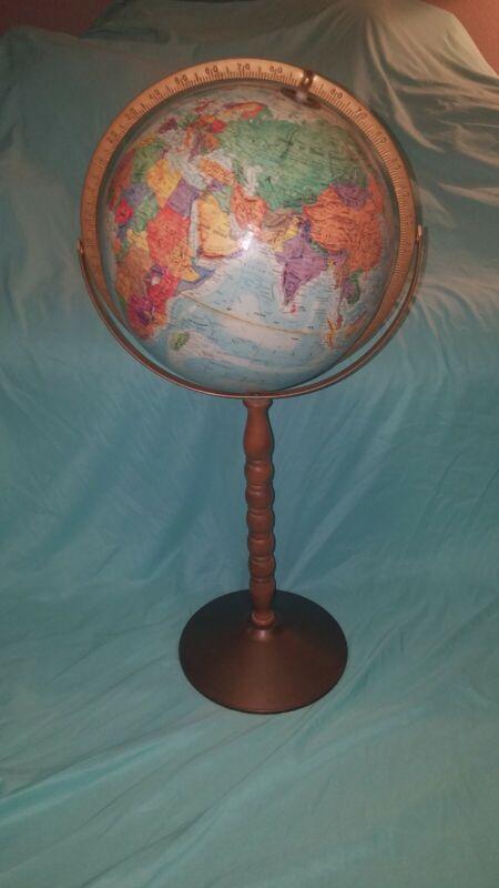 "VINTAGE REPLOGLE WORLD NATION SERIES GLOBE FLOOR WOODEN STAND 32"" tall"