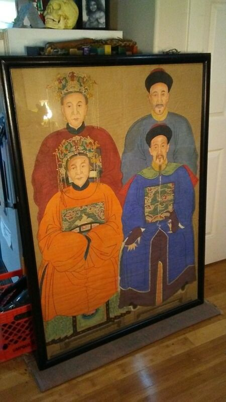 Rare and Large Antique Chinese Ancestor Painting - Framed.