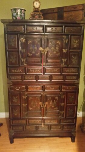 Antique Korean Cabinet, Persimmon Wood