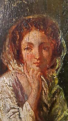 Ölgemälde von HENRI BARON 1816-1885 Portrait Frau Antiquität Bäuerin