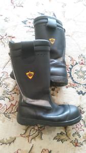 Leather Boots Fire Brigade HAIX Steel Cap Toe 9.5us UK8.5 4655