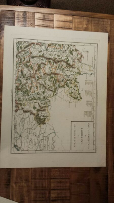 VERY NICE, ANTIQUE Hand Colored map of Lorraine, France - P. Tardieu, c.1790