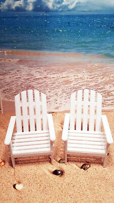 Beach Chair Decorations (Set of 2 Miniature Beach Chair Cake Toppers Decoration Luau)