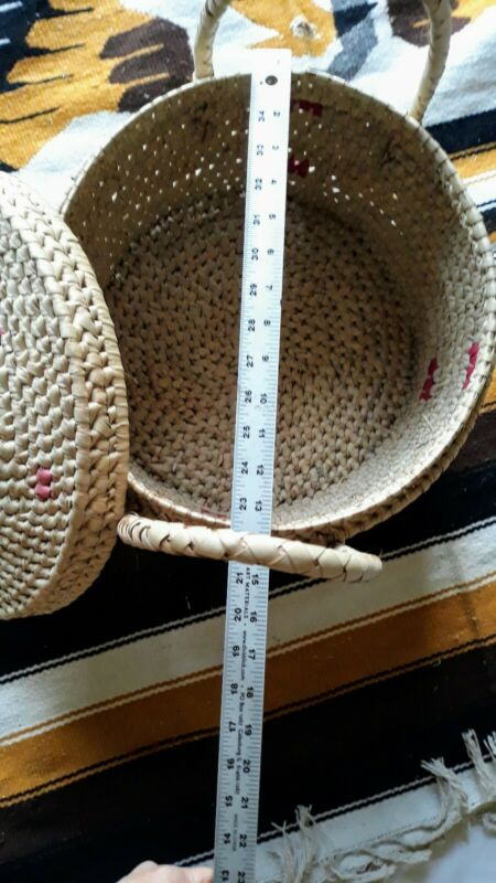 Native American Basket  With Handles & Lid