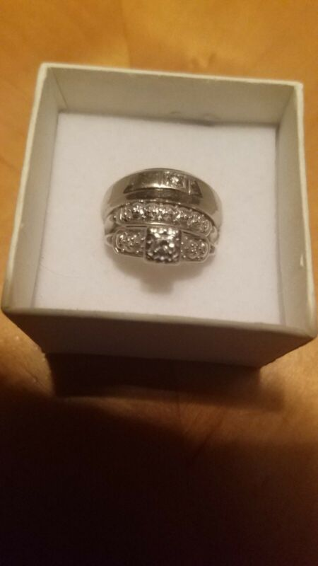Vintage 14kt white gold Man And Womens Wedding Rings.