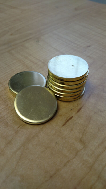 "1 1/4"" Dia. Brass Round Disc Blanks .125 1/8"" Thick (Lot of 10)"