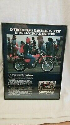 "1978 Kawasaki Kl250 Advertising Framed 11""x8.5"" Vintage Garage Art, Man Cave,..."