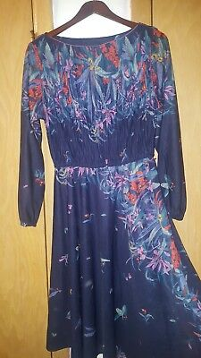 70s Sheer - Vintage 70s semi sheer Tropical floral Navy blue disco cocktail party dress L
