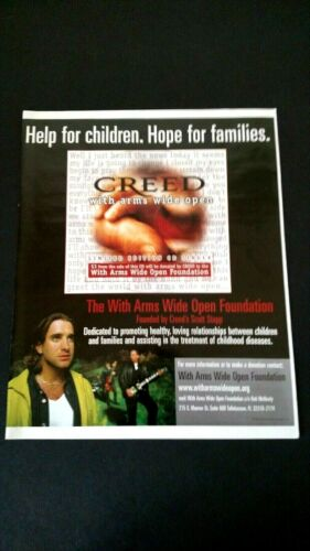"""CREED """"WITH ARMS WIDE OPEN FOUNDATION"""" 2000  RARE ORIGINAL PRINT PROMO POSTER AD"""