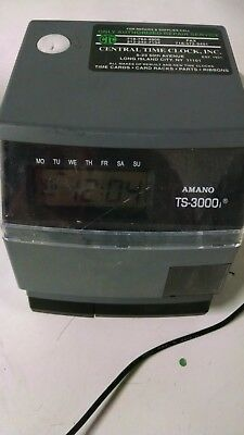 Amano Ts-3000i Automatic Time Sync Web Clock With Attached Power Cord Tested