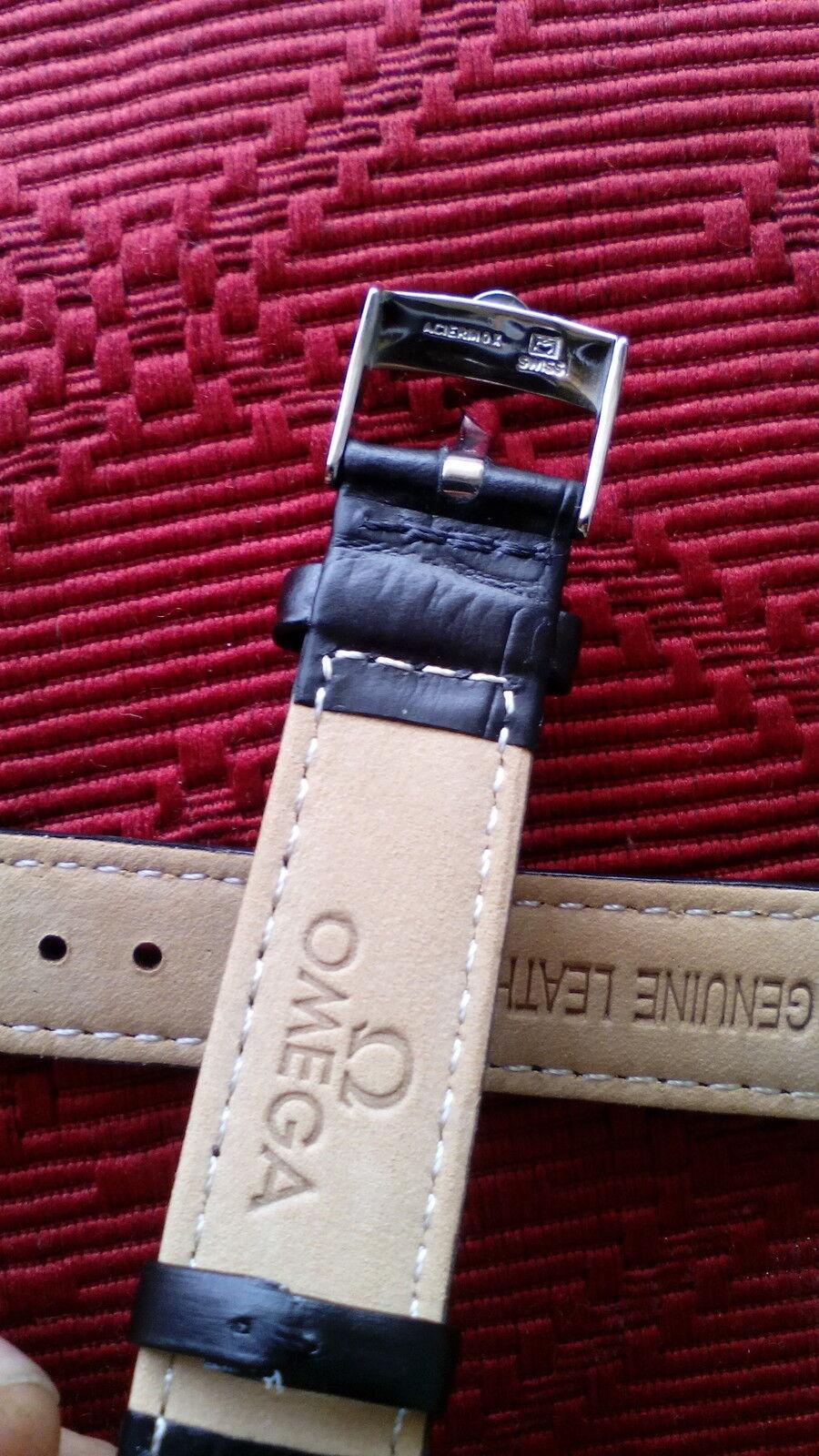 cinturino in vera pelle nera, marcato Omega swiss made, ansa 18mm, fibbia silver