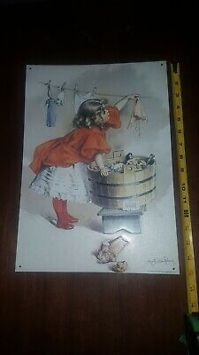 Vintage Ivory Soap Metal Tin Ad Sign 1995Retro Girl Laundry Room Wall Decor Gift