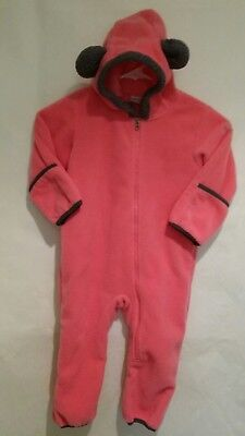 Columbia Infant Tiny Bear Pink With Gray Fleece Bunting Suit Size 18 24 Months