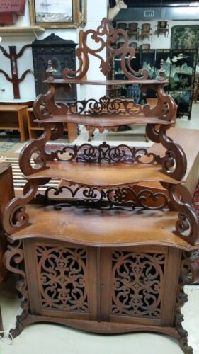 Antique Victorian  Carved Walnut Etagere