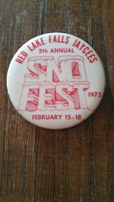 Vintage Collectible ButtonPinBack Jaycees 5thAnnual SnoFest RedLakeFalls MN 1973