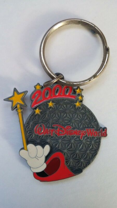 Disney World Epcot Spaceship Earth Ball Millennium 2000 Keychain, Mickey Mouse