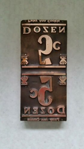 Patsy Ann Cookie 5 Cent Dozen Vintage Copper Printing Block 1930 Era