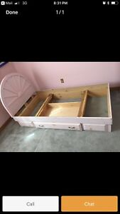 Solid wood single captain bed