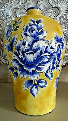 Large Yellow With Blue And White Floral Design Decorative Jug Vase Large Floral Vase