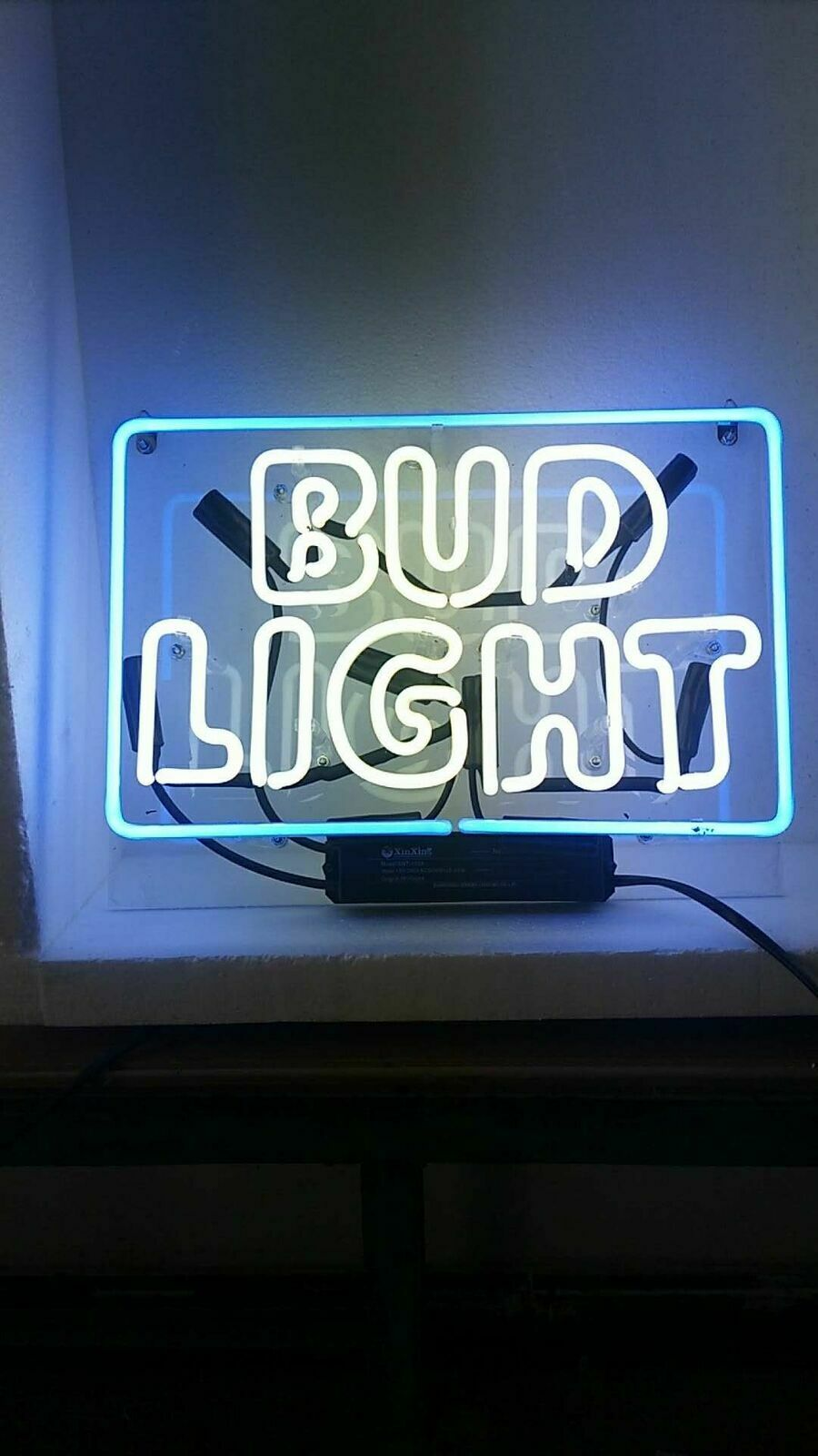 "Bud Light Neon Light Sign Lamp Beer Pub Acrylic 14"" Real Gla"