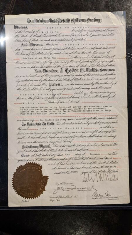 Rare Land Patent Signed by Utah