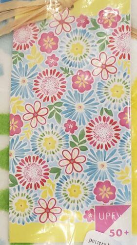 POTTERY BARN KIDS GIRLS BEACH TOWEL YELLOW PINK BLUE FLOWERS - BRAND NEW / NWT - $11.99
