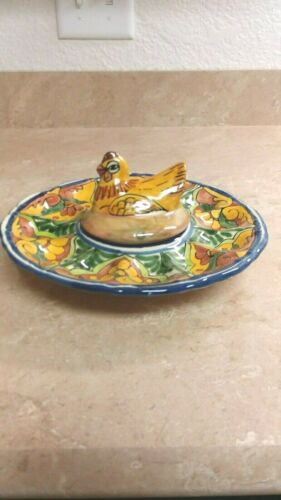 Vintage Glass Nesting Hen Plate for Deviled Eggs Excellent