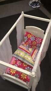 American Girl Canopy Bed with custom bedding