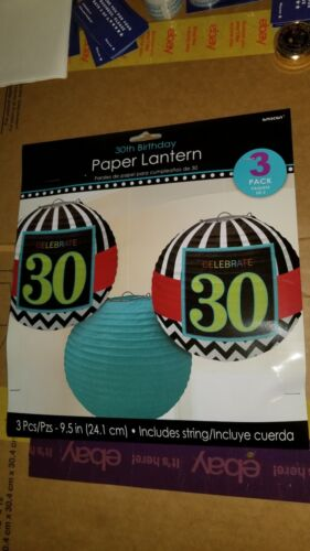 amscan 30th birthday paper lanterns 3pack new