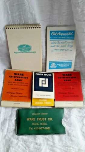 LOT VINTAGE GIVEAWAY ADVERTISING WRITING PADS EYE GLASS CLEANER BANK WARE MASS