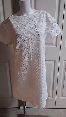 (NEW KATE SPADE GORGEOUS HAVANA FRESH WHITE EYELET DRESS SIZE 6)
