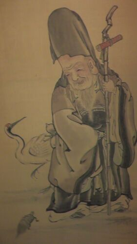 japanese scroll old man and bird happy japan turtle rare vintage asian asia jp