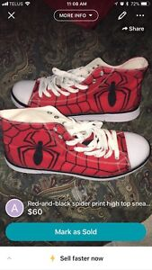 Brand new Spider-Man shoes ( never been worn outside)