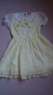 Women Teen Candy Rain Yellow Embroidered Floral Dress Size M UK Size...